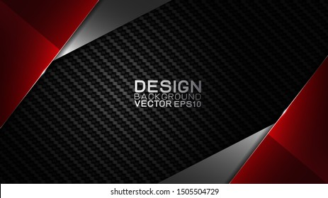 Vector design trendy and technology concept. Frame border dimension by carbon fiber texture shiny red silver and copy space on darkness background, Abstract futuristic technology template.