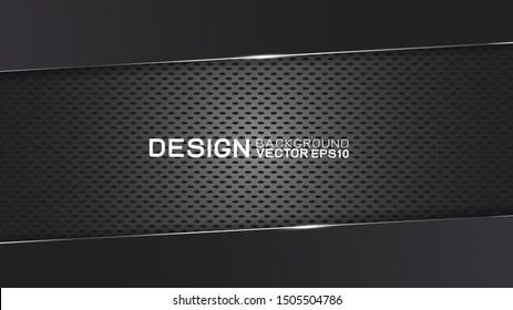 Vector design trendy and technology concept. Dark frame border dimension by carbon fiber texture and copy space on dark background, Abstract futuristic technology template.