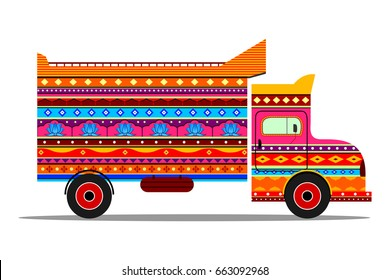 Vector design of truck of India in Indian art style