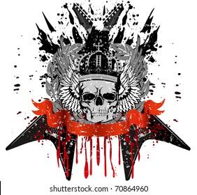 Vector design for T-short skull with crown against crossed  guitars