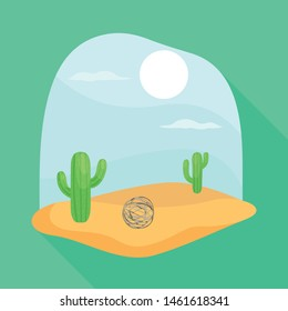 Vector design of tumbleweed and cactus icon. Collection of tumbleweed and west stock vector illustration.