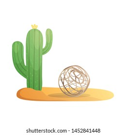 Vector design of tumbleweed and cactus sign. Set of tumbleweed and arizona vector icon for stock.