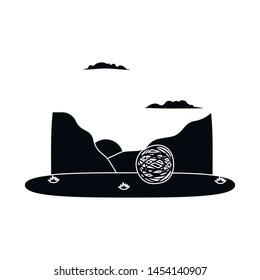 Vector design of tumbleweed and rock logo. Collection of tumbleweed and dry vector icon for stock.