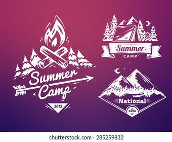 Vector design typography  for web design development.  Summer camp and national park