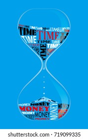 Vector design Typography,Proverb, Time is Money-background-sky blue