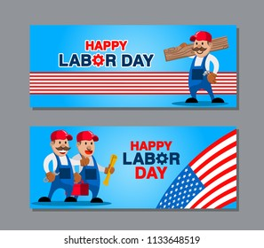 Vector design of US labor day greetings banner
