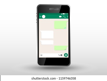vector design of user interface mobile app inside smarphone standing effect