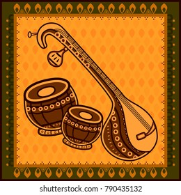 Vector design of Veena and Tabla Music instrument in India desi folk art style