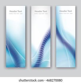 Vector design vertical Banner blue wave smooth line white background. illustration.