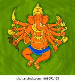 Vector design of Vintage Abstract Statue painting of Indian Lord Ganesha