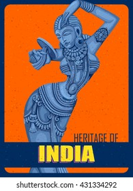 Vector design of Vintage Poster of statue of Indian female sculpture engraved on stone