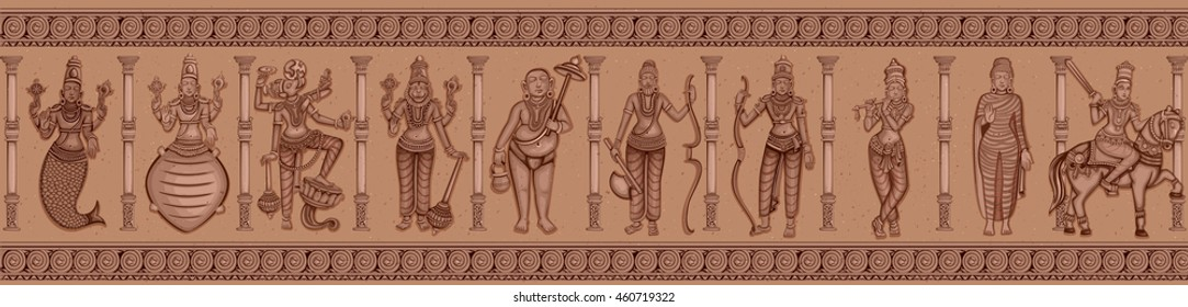 Vector design of Vintage statue of different avatara of Indian Lord Dashavatara of Vishnu sculpture engraved on stone