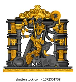 Vector design of Vintage statue of Indian Goddess Durga sculpture engraved on stone