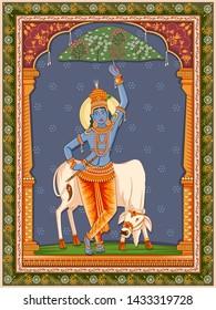 Vector design of Vintage statue of Indian God Krishna with vintage floral frame background