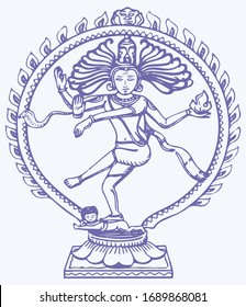 Vector design of Vintage statue of Indian Lord Shiva Nataraja sculpture. is a depiction of the Hindu god Shiva as the divine dancer. Editable Vector Illustration