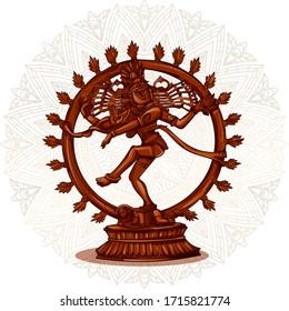 Vector design of Vintage statue of Indian Lord Shiva Nataraja sculpture