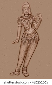 Vector design of Vintage statue of Indian female sculpture engraved on stone