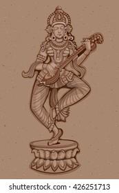 Vector design of Vintage statue of Indian Goddess Saraswati sculpture engraved on stone