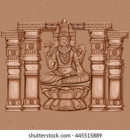 Vector design of Vintage statue of Indian Lord Brahma sculpture engraved on stone