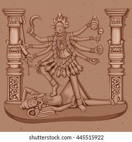 Vector design of Vintage statue of Indian Goddess Kali sculpture engraved on stone