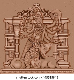 Vector design of Vintage statue of Indian Goddess Durga sculpture engraved on stone