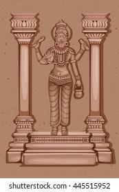 Vector design of Vintage statue of Indian God Vishwakarma sculpture engraved on stone