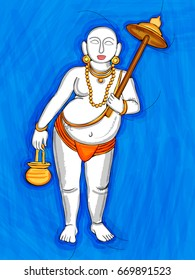 Vector design of Vintage statue of Indian Lord Vamana sculpture one of avatar from the Dashavatara of Vishnu engraved on stone