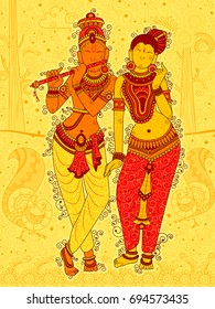 Vector design of Vintage statue of Indian God Radha and Krishna sculpture in India art style