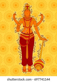Vector design of Vintage statue of Indian Lord Vishnu in India art style