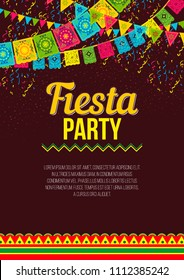 Vector design of vivid promotional poster about Fiesta party in bright colors and ornaments on brown backdrop