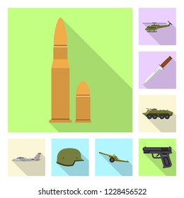 Vector design of weapon and gun icon. Collection of weapon and army vector icon for stock.