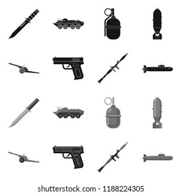 Vector design of weapon and gun sign. Collection of weapon and army stock vector illustration.
