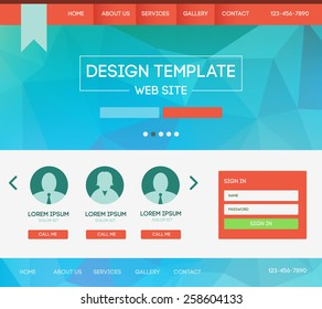 Vector design website theme template. Landing web page layout with blurred background.