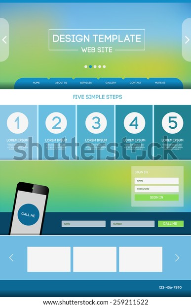 Vector Design Website Theme Template Landing Stock Vector