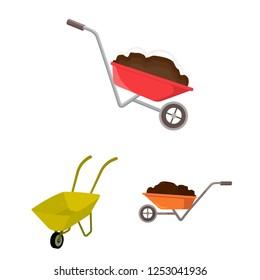 Vector design of wheelbarrow and dirt logo. Set of wheelbarrow and barrow stock symbol for web.