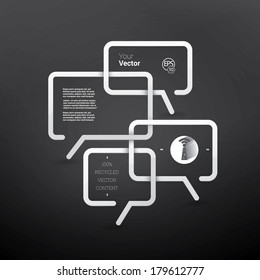 Vector design. White & black business edition of a minimal scalable abstract geometric bubble speech textbox with an artistic background. Layout element for web, brochure, presentation or infographics
