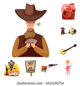 Vector design of wild and west sign. Collection of wild and american vector icon for stock.