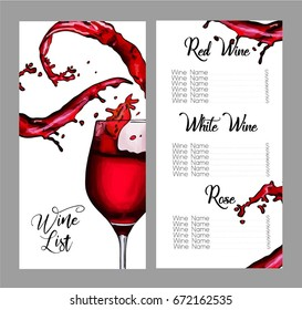 Vector design for wine list. Glass of wine with splashes.