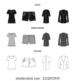 Vector design of woman and clothing icon. Collection of woman and wear stock symbol for web.