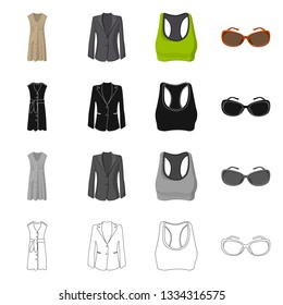 Vector design of woman and clothing icon. Collection of woman and wear vector icon for stock.