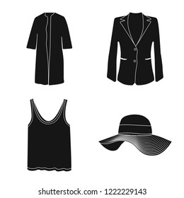 Vector design of woman and clothing logo. Collection of woman and wear vector icon for stock.