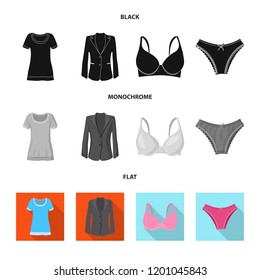Vector design of woman and clothing symbol. Set of woman and wear stock symbol for web.