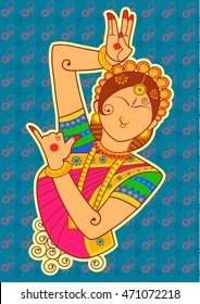 Vector design of woman dancer in Indian art style