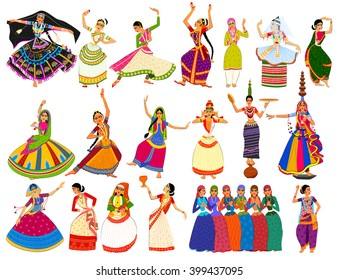 Vector design of woman performing classical and folk dance of India