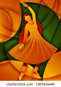 Vector design of woman performing Kathak classical dance of Northern India