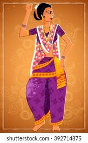 Vector design of woman performing Koli folk dance of Maharashtra, India