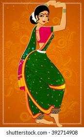 Vector design of woman performing Lavani folk dance of Maharashtra, India