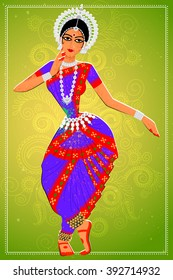 Vector design of woman performing Odissi classical dance of Odisha, India