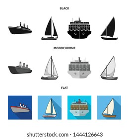 Vector design of yacht and ship logo. Collection of yacht and cruise stock symbol for web.