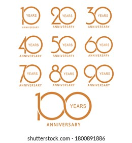 Vector designs for 10th, 20th, 30th, 40th, 50th, 60th, 70th, 90th, 100th anniversaries.